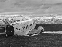 在冰岛击毁的航空器 免版税库存图片