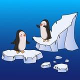 在冰川和冰峭壁的两只动画片企鹅 免版税图库摄影