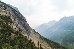 在冰川国家公园的发烟性谷 免版税图库摄影