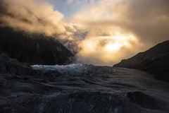 在冰川的日落 库存图片