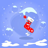 在冰柱动画片的圣诞节红色袜子吊 库存例证