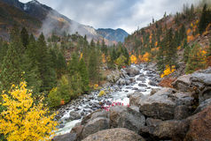 在冰柱的秋天在Leavenworth 图库摄影