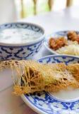 在冰水的泰国食物米 免版税库存照片