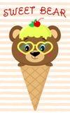 在冰淇凌的图象,动画片样式的逗人喜爱的棕熊 库存例证