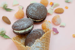 在冰淇凌的巧克力曲奇饼与白色奶油和糖粉末 库存照片