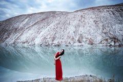 在冰湖附近 库存图片