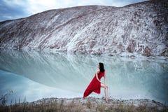 在冰湖附近 库存照片