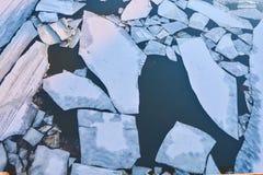 在冰漂泊期间,巨大的冰川在奥卡河漂浮 免版税库存照片