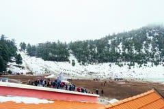 在冰的一冷的美好的多雪的天在冬天 库存照片