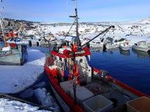 在冰的小船 库存图片