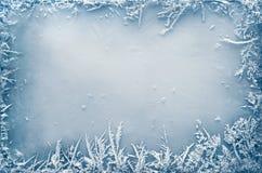 在冰的弗罗斯特水晶边界 库存图片