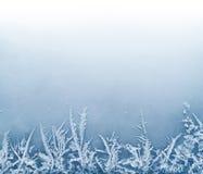 在冰的弗罗斯特水晶边界 免版税库存照片