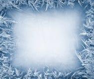 在冰的弗罗斯特水晶边界 库存照片
