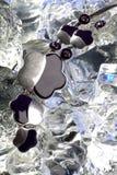 在冰的服装项链在演播室 免版税库存图片