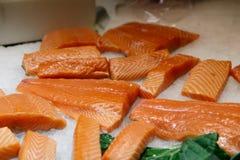 在冰的未加工的鲑鱼排 免版税库存图片