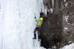在冰的登山人攀登 免版税库存照片