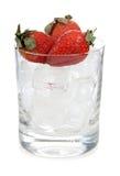 在冰的草莓 库存照片