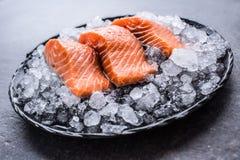 在冰的被分配的未加工的三文鱼内圆角在板材-特写镜头 免版税库存图片