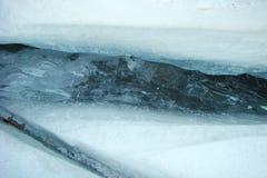 在冰的裂缝 图库摄影