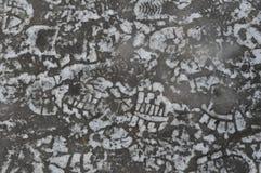 在冰的许多人的鞋子脚印 免版税库存照片