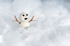 在冰的雪人玩偶 免版税库存图片