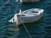 在冰盖的小船 免版税库存照片