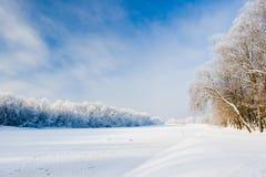 在冰盖的河 免版税库存图片