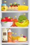 在冰箱的食物 免版税图库摄影