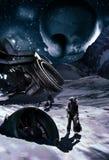 在冰行星的太空飞船击毁 免版税库存图片