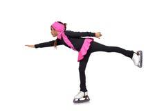 在冰鞋的女孩跳舞 库存照片