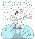 在冰鞋的雄鸡 免版税库存照片