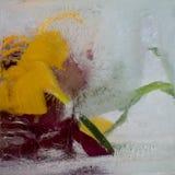 在冰结冰的百合花背景 库存照片