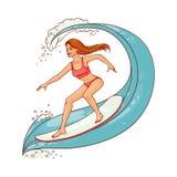 在冲浪板的传染媒介逗人喜爱的妇女骑马波浪 库存例证