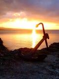 在冲绳岛海角Busena的日落 免版税库存图片