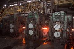 在冶金植物的持续铸件机 免版税库存图片