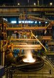 在冶金植物的钢铁生产 免版税库存图片