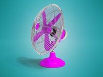 在冷却正确的3d的屋子的桌上的现代紫色爱好者 向量例证