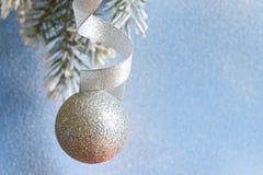 在冷杉分支和多雪的蓝色背景的圣诞节球 免版税库存图片