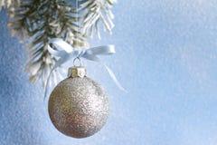 在冷杉分支和多雪的蓝色背景的圣诞节球 免版税图库摄影