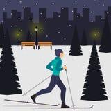 在冷杉木中的一个多雪的城市公园供以人员行动的滑雪者 越野滑雪人 天空的年轻人在城市 传染媒介不适 库存例证