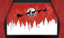 在冷杉木的圣诞老人爬犁 图库摄影