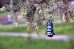 在冷杉的圣诞节玩具 库存照片
