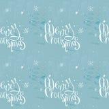 在冷淡的无缝的背景的圣诞快乐词组 库存例证