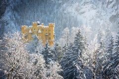 在冷漠的风景的Hohenschwangau城堡,德国 免版税库存图片