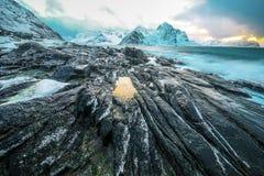在冷的挪威海岸的古老石头晚上时间的 海岛lofoten 美丽的域前景横向挪威草莓 免版税库存图片