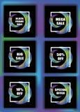 在冷的梯度颜色设置的销售横幅 也corel凹道例证向量 库存照片