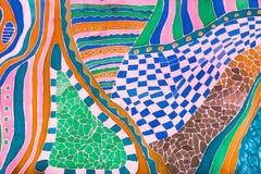 在冷的等高蜡染布画的丝绸围巾的样式 免版税库存照片