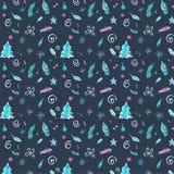 在冷的颜色的冬天无缝的样式与圣诞装饰 库存例证