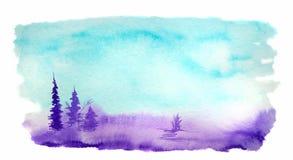 在冷的颜色的水彩风景与树和草 皇族释放例证