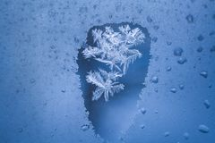 在冻冬天窗口的被解冻的斑点与在它里面的冷淡的样式 免版税库存照片